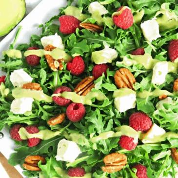Raspberry Salad with Brie & Creamy Avocado Dressing