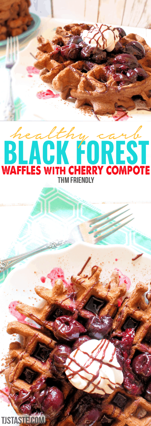 Healthy Carb Black Forest Waffles with Cherry Compote • THM Friendly • Trim Healthy Mama Friendly